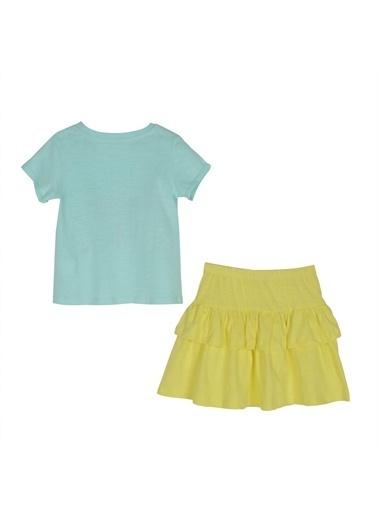 Silversun Kids Kız Çocuk Baskılı Kısa Kollu Tişört Etek Takım- !Kt 216077 Yeşil